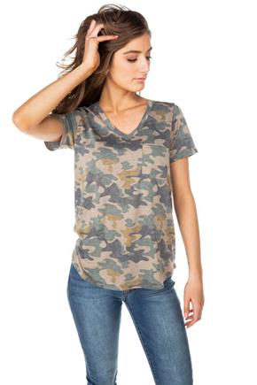 Camo V-neck Tee with Pocket