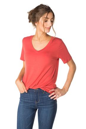 V-neck Tee with Shirttail Hem