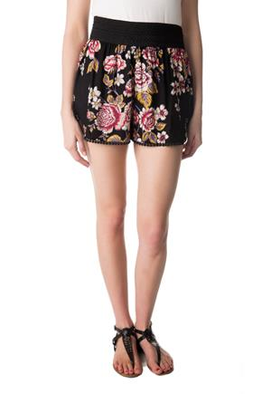 Floral Short with Wide Elastic Waistband and Crochet Trim