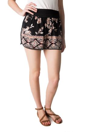 Floral Short with Crochet Trim and Wide Elastic Waistband