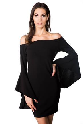 Off-the-Shoulder Bodycon Dress with Long Bell Sleeves