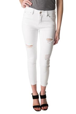 YMI Wannabettabutt White Ripped Mid-Rise Anklet Skinny Jean