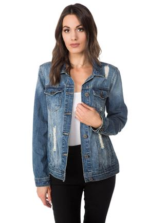 YMI Ripped Medium Wash Jean Jacket