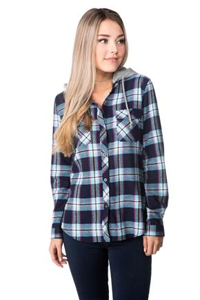 Becca Plaid Flannel Shirt with Hood