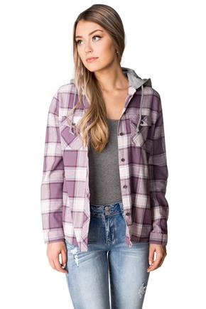 Ciara Plaid Flannel Shirt with Hood