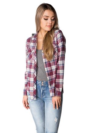 Jenna Plaid Flannel Shirt with Hood