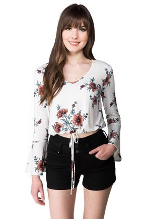 Floral Crop Top with Long Bell Sleeves