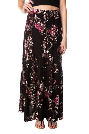 Floral Maxi Skirt with Buttons