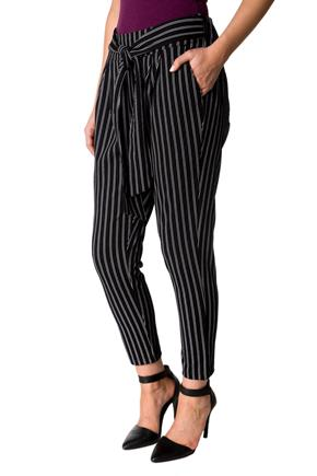 Striped Ankle Length Pant with Tie Belt