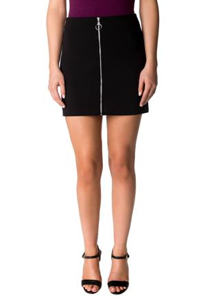 A-line Mini Skirt with Front Zipper