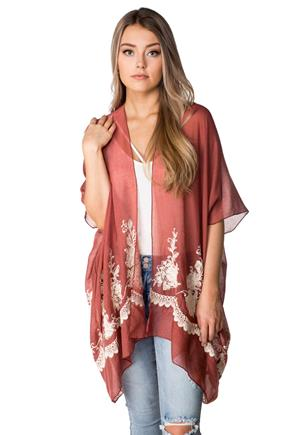 Bloom and Vine Embroidered Kimono