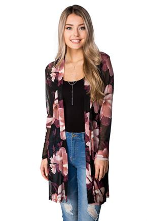 Long Mesh Floral Open Cardigan