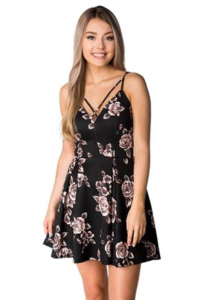 Floral Strappy Pleated Skater Dress