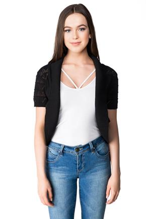 Short Sleeve Pointelle Shrug