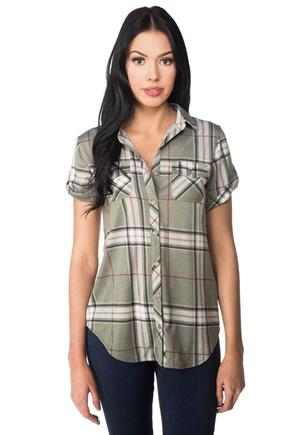 Plaid Short Sleeve Shirt with Front Pockets