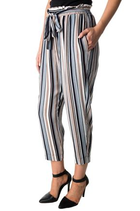 Striped Cropped Pant with Tie Belt