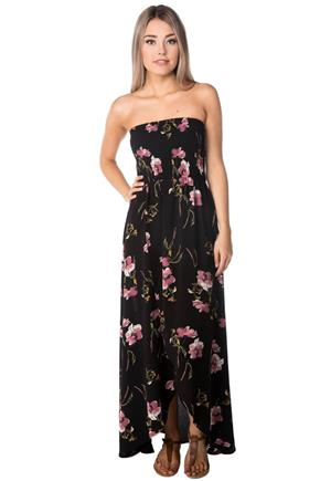 Floral Strapless Maxi Dress with Crossover Hem