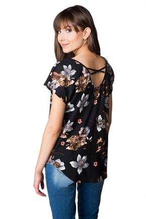 Floral Top with Criss Cross Back
