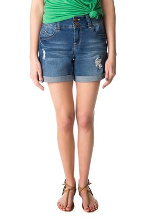 YMI Wannabettabutt Medium Wash Mid-Rise Ripped Short with Rolled Cuff