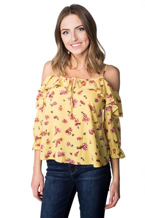 Floral Ruffle Off-the-Shoulder Blouse