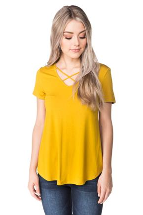 Short Sleeve Top with Criss Cross V-neck