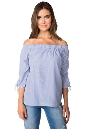 Striped Off-the-Shoulder Blouse with Crossover Open Back