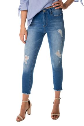 YMI 'Hide Your Muffin Top' Medium Wash High-Rise Ripped Anklet