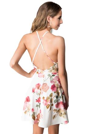 Floral Skater Dress with Criss Cross Back