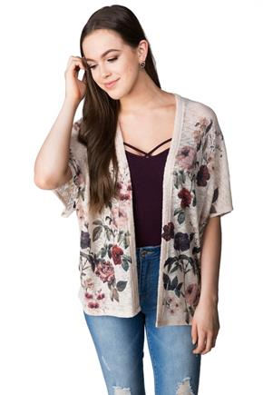 Short Sleeve Floral Open Cardigan