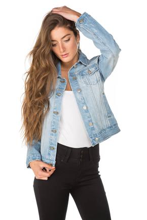 Tattoo Light Wash Distressed Jean Jacket