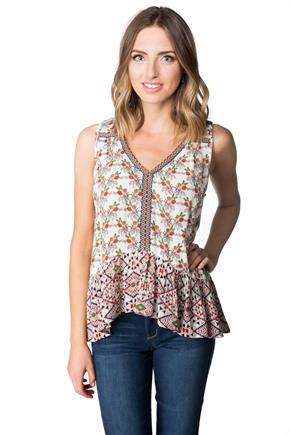Boho Floral Embroidered Tank