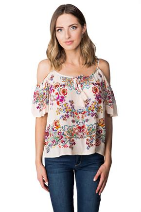 Boho Floral Cold Shoulder Blouse