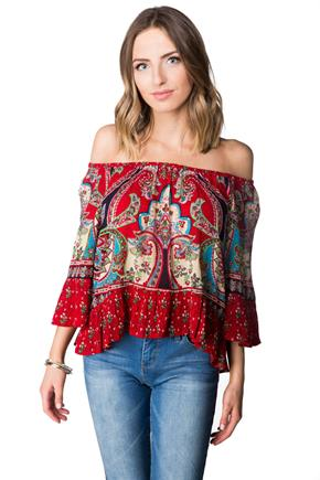 Paisley Off-the-Shoulder Top
