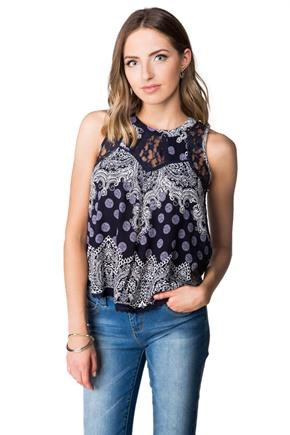 Scarf Print Tank with Lace Trim
