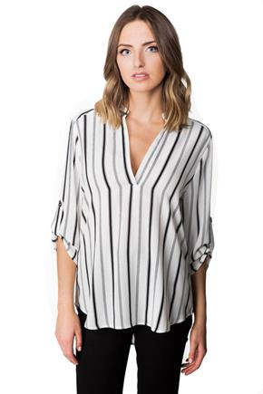 Striped Blouse with Roll-up Sleeves and Half Placket