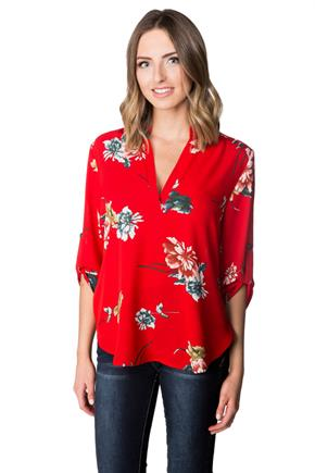 Large Floral Blouse with Roll-up Sleeves and Half Placket