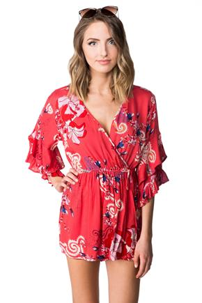 Floral Crossover Romper with Ruffle Bell Sleeves