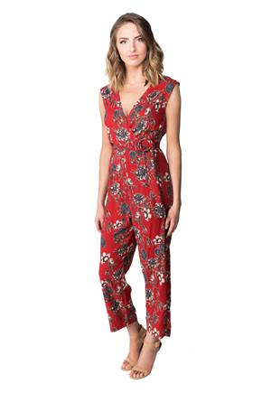 Floral Crossover Romper with Double Ring Belt
