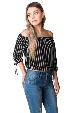 Off-the-Shoulder Striped Blouse with Tie Sleeves