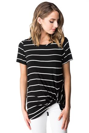 Striped Tunic with Knotted Hem