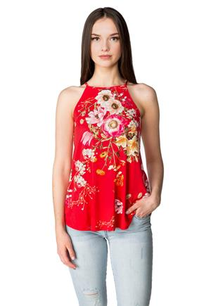 Floral Tank with Keyhole Back
