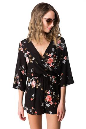Crossover Floral Romper with 3/4 length Sleeves