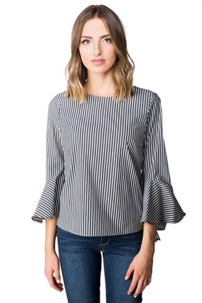 Striped Blouse with Bell Sleeves and Tie Back