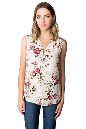 Floral Sleeveless Blouse with Zipper V-neck