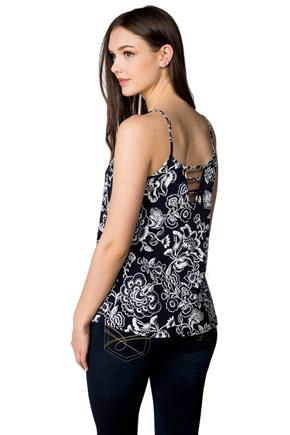 Textured Floral Tank with Back Ladder Detail