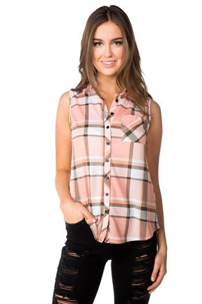 Plaid Sleeveless Shirt with Chest Pocket