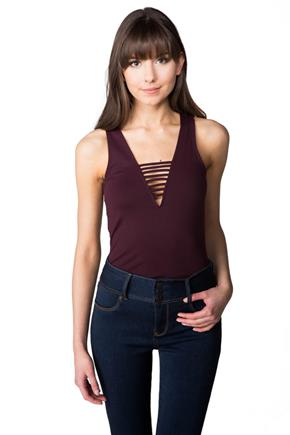 Sleeveless Bodysuit with Plunging V-neck with Strappy Details