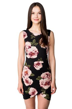 Floral Sleeveless Dress with Ruched Side