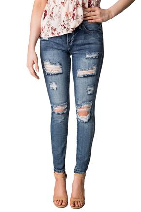 YMI 'Dream Jean' Medium Wash High-Rise Ripped Skinny Jean