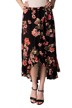 Floral Midi Skirt with Crossover Ruffle Hem